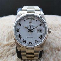 Rolex 1982 ROLEX DAY-DATE 18039 WITH ORIGINAL WHITE RAISED...