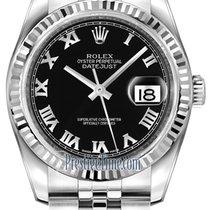 Rolex Datejust 36mm Stainless Steel 116234 Black Roman Jubilee
