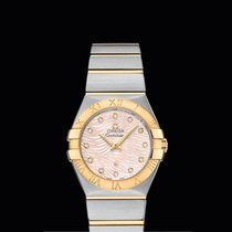 Omega Constellation quartz  27 mm Yellow Gold/Steel Pink Dial T