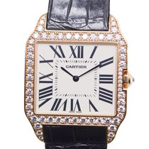 Cartier Santos 18 K Rose Gold With Diamonds Silvery White...