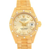 Rolex President Datejust Ladies 18k Yellow Gold Diamond Watch...