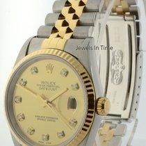 Rolex Datejust 18k Gold & Steel Diamond Dial Mens Automati...