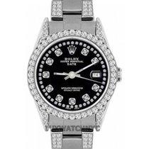 Rolex Date Ladies's 34mm Black Dial Stainless Steel Bracelet