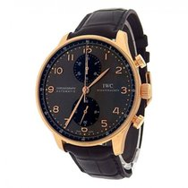 IWC Portuguese Chronograph IW371482 18K Rose Gold Leather...