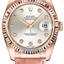 Rolex Datejust 36mm Everose Gold 116135 Silver Diamond