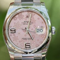 Rolex Datejust Ladies Mens 36mm Stainless Steel Pink Floral...