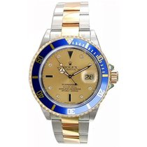 Rolex Submariner 16613 Steel & 18K Gold Champ Serti...