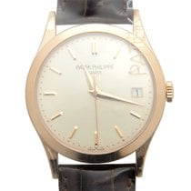 百達翡麗 (Patek Philippe) New  Calatrava 18k Rose Gold White...