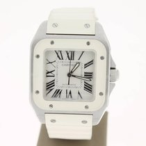 Cartier Santos 100 Medium. Steel/WhiteRubber  (B&P2011)...