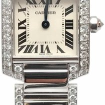 Cartier Tank Francaise 18k White Gold Factory Diamonds WE1002SF