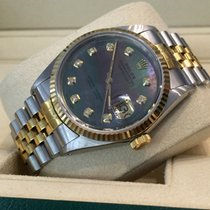 Rolex Datejust Jubilee Gold Steel Black Pearl Dial 36mm (Full...
