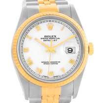 Rolex Datejust Steel Yellow Gold White Roman Dial Mens Watch...