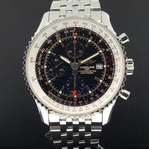 Breitling Navitimer World GMT 46mm Date Steel A24322 Black...