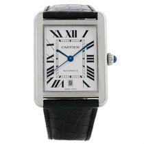 Cartier Tank Solo Xl Automatic Black Strap Steel Mens Watch...