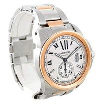 Cartier Calibre Steel 18k Rose Gold Mens Watch W7100036 Box...