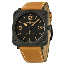 Bell & Ross Black Dial Beige Calfskin Leather Men's...