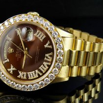 Rolex 18K Mens Yellow Gold Rolex President Day-Date 36MM Brown...