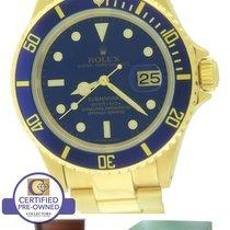 Rolex Submariner Date 16618 Swiss Made 18K Yellow Gold Blue 40mm