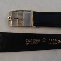 Omega 19mm Extra long bracelet black leather, gold plated buckle