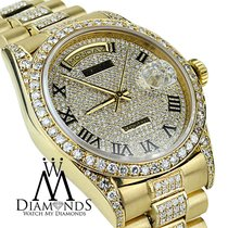 Rolex Day Date Super President 18k Yellow Gold Quickset Pave...