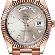 Rolex Day-Date 40mm Everose Gold 228235 Sundust Baguette Index