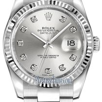Rolex Datejust 36mm Stainless Steel 116234 Silver Diamond Oyster