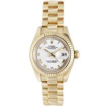 Rolex 18K Yellow Gold White Roman Dial Ladies President...