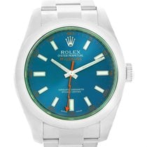 ロレックス (Rolex) Milgauss Blue Dial Green Crystal Mens Watch...