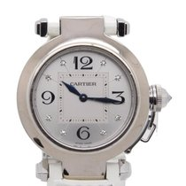 Cartier Pasha 2813 Solid 18k White Gold Ladies Watch W/...