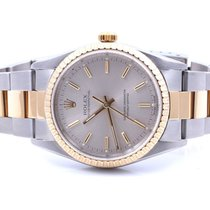 Rolex 18K/SS Oyster Perpetual - Silver Stick Dial - Oyster...