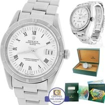 Rolex Date 15210 34mm White Roman Stainless Oyster Watch DateJust
