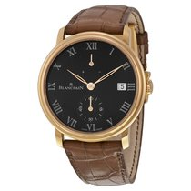 Blancpain Villeret 8 Days Black Dial Black Leather Men's...
