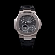 Patek Philippe Nautilus 18K white gold leather moon phase...