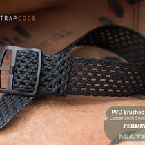 MiLTAT Perlon Watch Strap, Black Mesh, Ladder Lock, PVD
