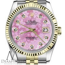 Rolex 36 Mm Datejust 18k 2-tone Pink Flower Mother Of Pearl...