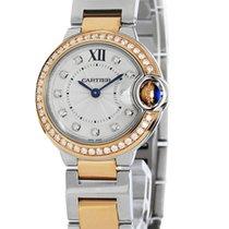 Cartier Ballon Bleu Silver Diamonds 18k Pink Gold Women Watch...