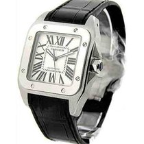 Cartier W20073X8 Santos 100 - Large Size in Steel - On Black...