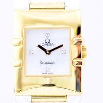 Omega Constellation Quadra Lady 18K Gelbgold Perlmutt Diamante...
