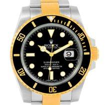 Rolex Submariner Steel 18k Yellow Gold Mens Watch 116613 Box...