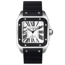 Cartier Santos 100 Steel & Black Rubber (W20121U2)
