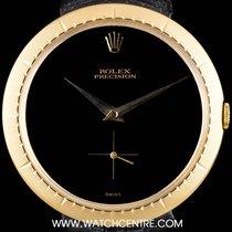Rolex 18k Y/G Black Dial Precision Vintage Gents Wristwatch 9522