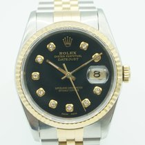 Rolex Datejust 36mm Two Tone Black Factory Diamonds Dial
