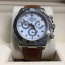 Rolex Daytona 18K White Gold/White Dial/Leather Strap