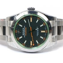 Rolex New Rolex Milgauss Green Crystal 116400V 2013 Box Papers