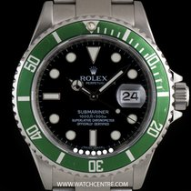 Rolex S/Steel Green Bezel Black Dial Submariner Date 16610LV