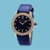 Bulgari BVLGARI Index Aventurin Diamanten - Lederband blau -NEU-
