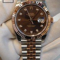 Rolex DateJust 41 Steel & Rose Gold Brown Diamond  Dial...