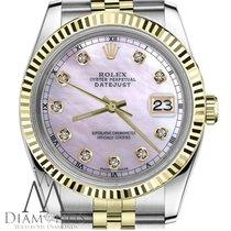 Rolex Men`s Rolex 36mm Datejust2tone Pink Mop Mother Of Pearl...