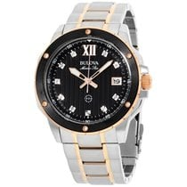Bulova Marine Star Black Dial Stainless Steel Men's Watch...