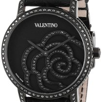 Valentino Rose Black PVD Steel Womens Watch Black Diamonds...